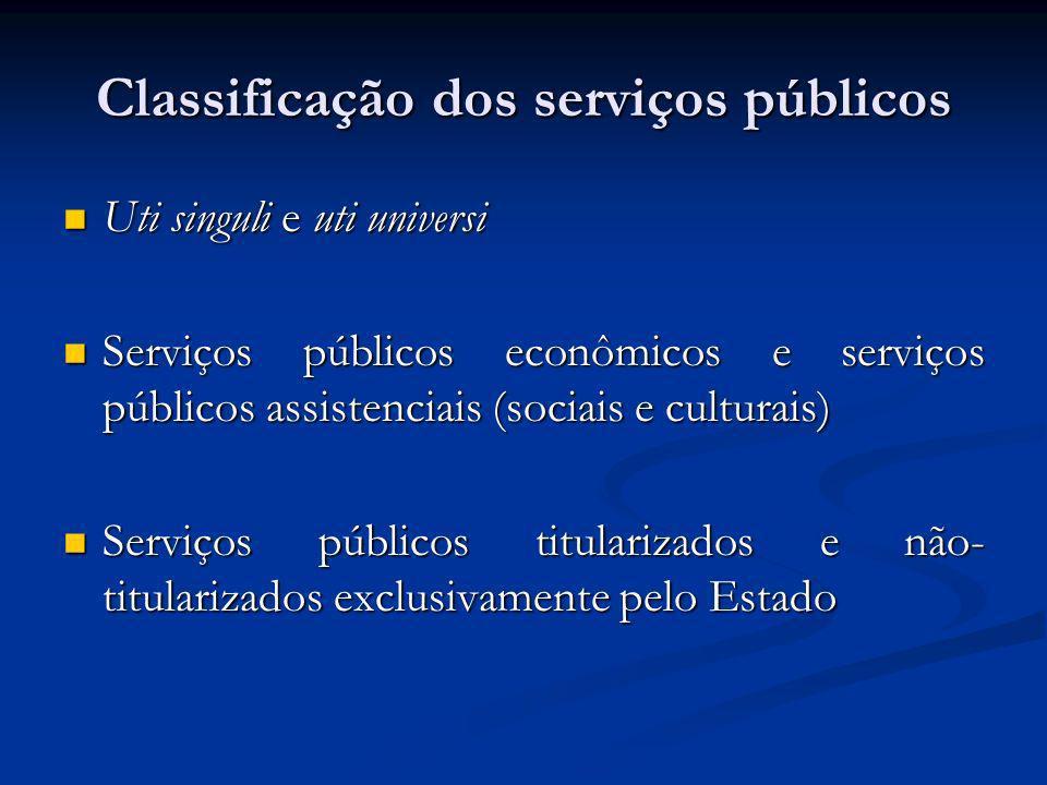 Classificação dos serviços públicos Uti singuli e uti universi Uti singuli e uti universi Serviços públicos econômicos e serviços públicos assistencia