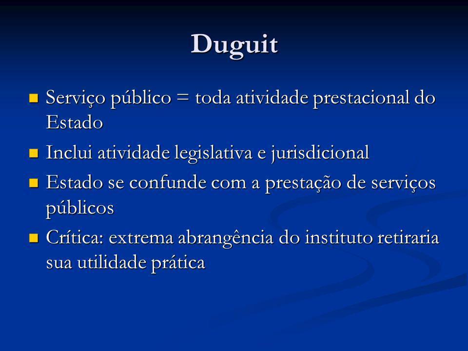 Gaston Jèze Serviços públicos = atividade prestada sob regime de direito público Serviços públicos = atividade prestada sob regime de direito público Aproximação à idéia de monopólio estatal Aproximação à idéia de monopólio estatal Conceito restrito e tautológico => atividade é submetida a um regime de direito público porque é serviço público (e não o inverso) Conceito restrito e tautológico => atividade é submetida a um regime de direito público porque é serviço público (e não o inverso)