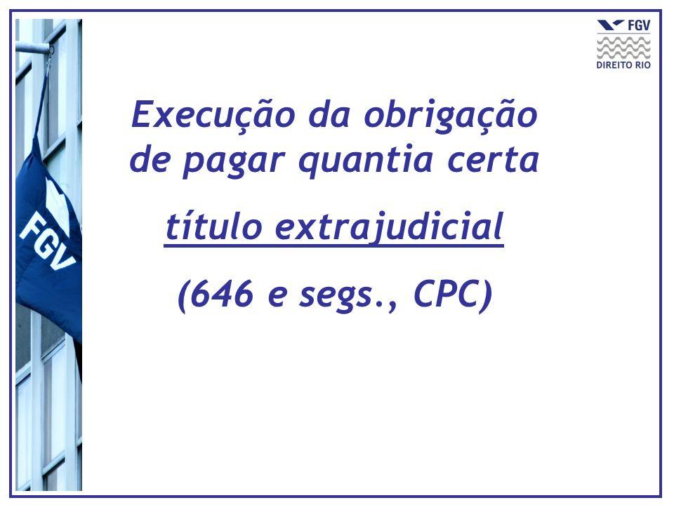 Execução da obrigação de pagar quantia certa título extrajudicial (646 e segs., CPC)