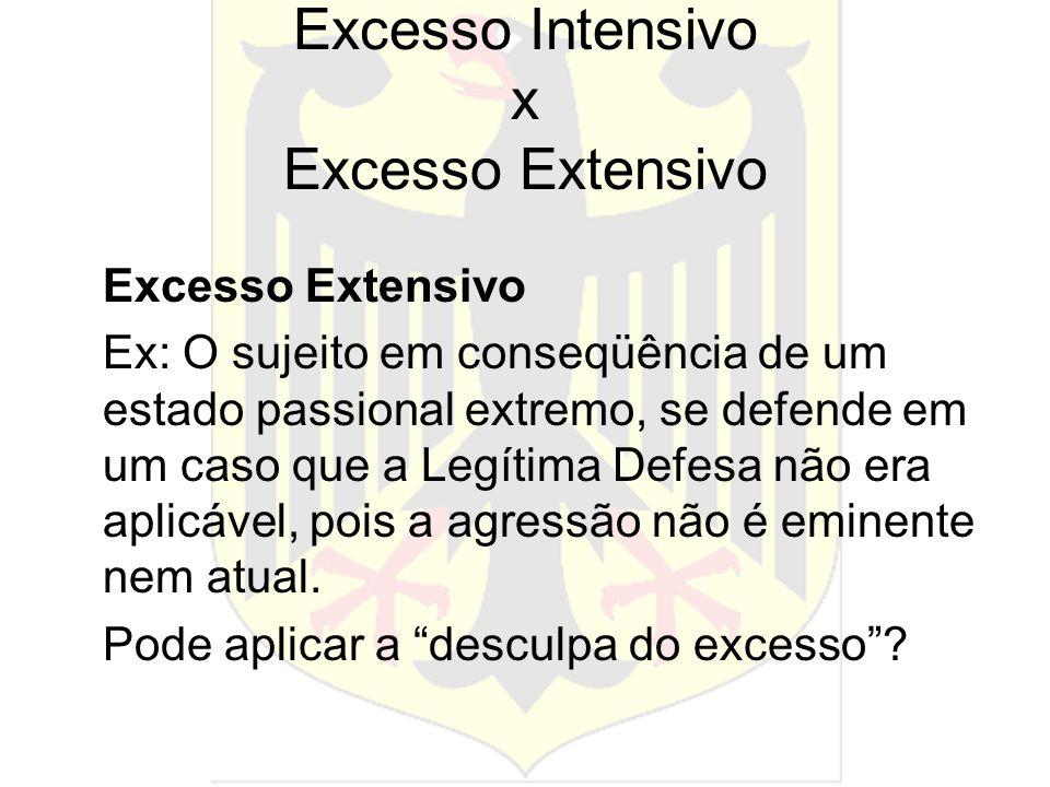 Excesso Intensivo x Excesso Extensivo Excesso Extensivo Ex: O sujeito em conseqüência de um estado passional extremo, se defende em um caso que a Legí