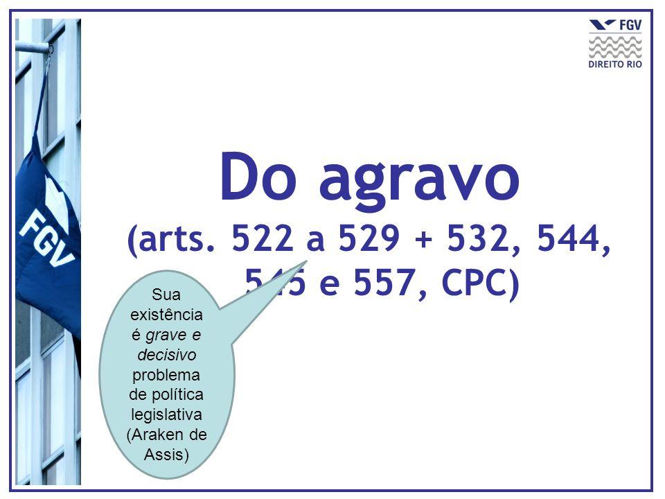 Do agravo (arts. 522 a 529 + 532, 544, 545 e 557, CPC) Sua existência é grave e decisivo problema de política legislativa (Araken de Assis)
