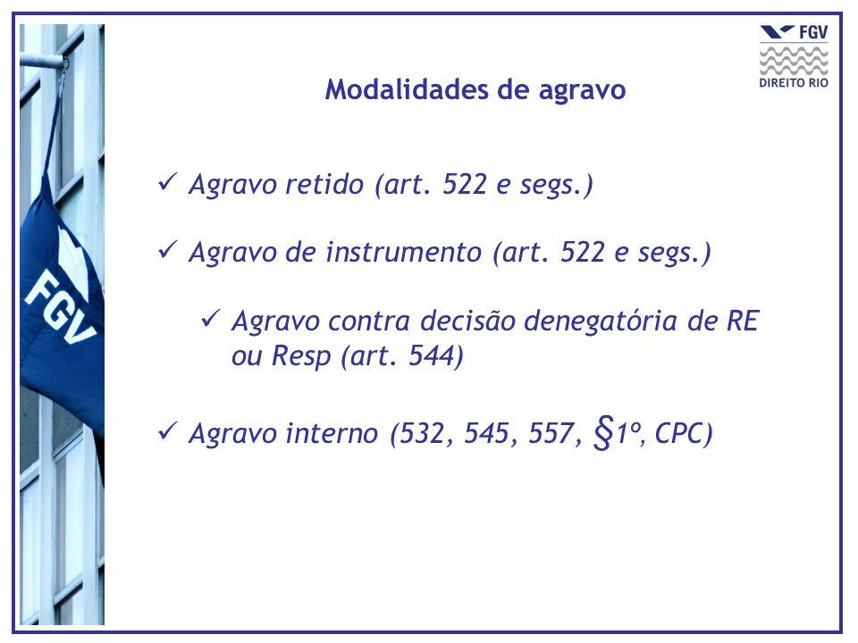 Modalidades de agravo Agravo retido (art. 522 e segs.) Agravo de instrumento (art. 522 e segs.) Agravo contra decisão denegatória de RE ou Resp (art.