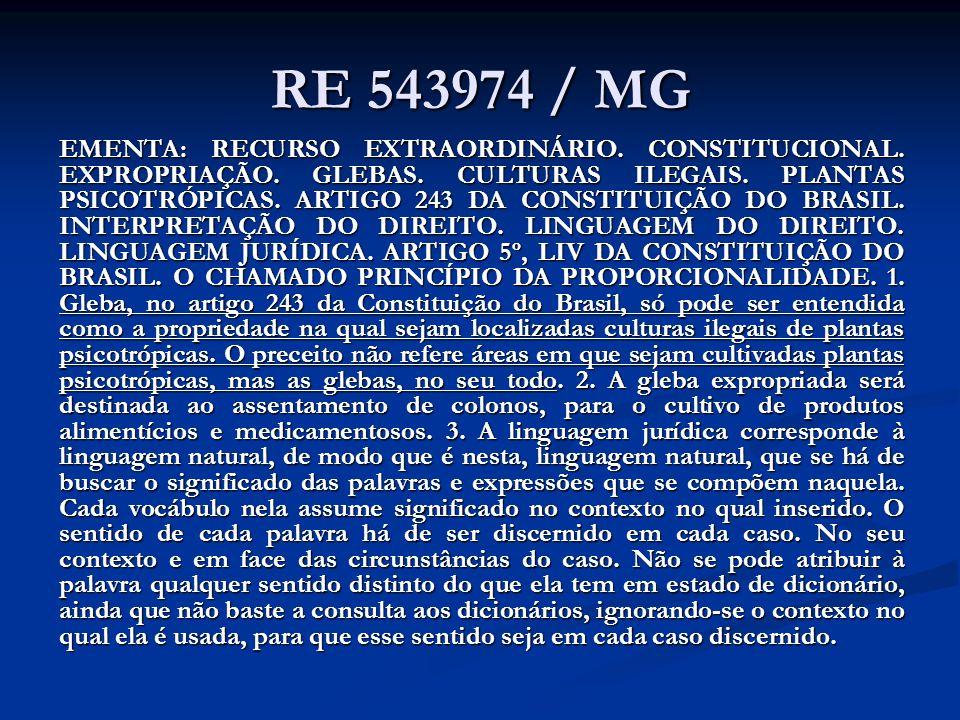 RE 543974 / MG EMENTA: RECURSO EXTRAORDINÁRIO. CONSTITUCIONAL. EXPROPRIAÇÃO. GLEBAS. CULTURAS ILEGAIS. PLANTAS PSICOTRÓPICAS. ARTIGO 243 DA CONSTITUIÇ