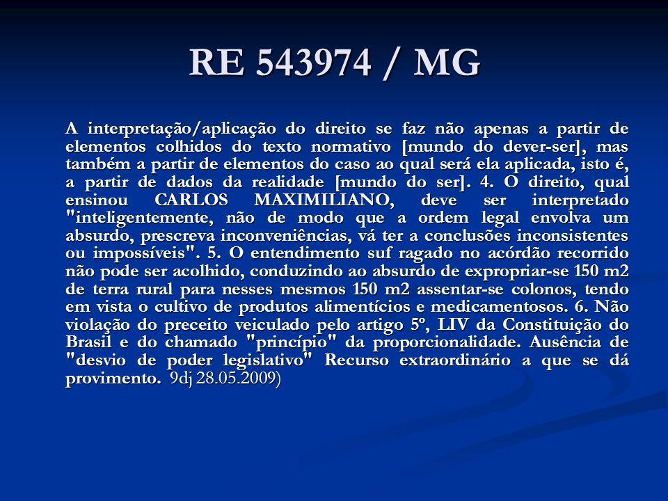 RE 543974 / MG A interpretação/aplicação do direito se faz não apenas a partir de elementos colhidos do texto normativo [mundo do dever-ser], mas tamb