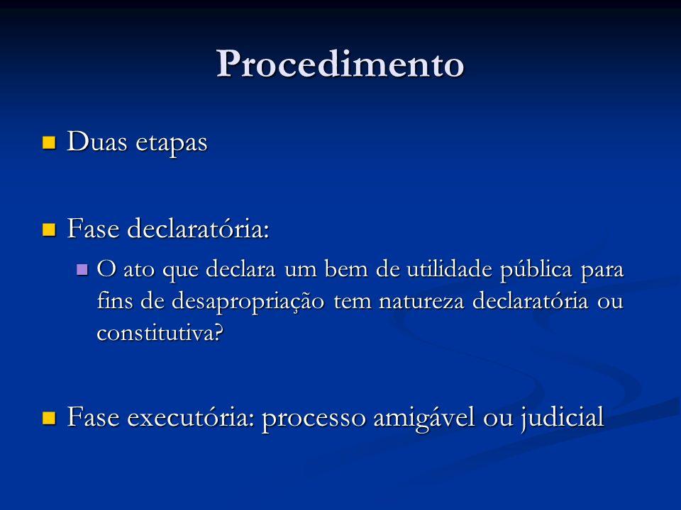Procedimento Duas etapas Duas etapas Fase declaratória: Fase declaratória: O ato que declara um bem de utilidade pública para fins de desapropriação t