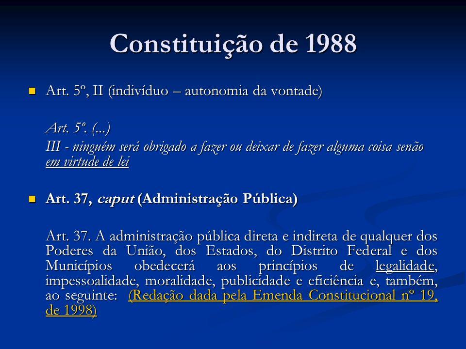 Constituição de 1988 Art. 5º, II (indivíduo – autonomia da vontade) Art. 5º, II (indivíduo – autonomia da vontade) Art. 5º. (...) III - ninguém será o