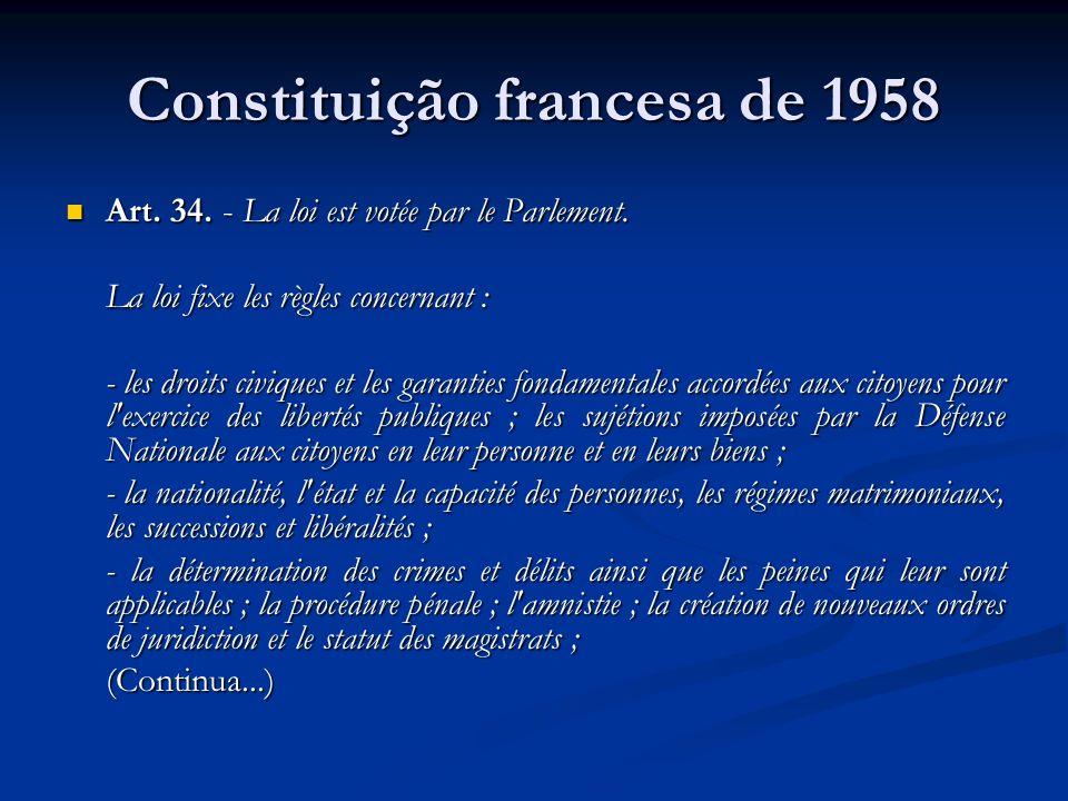 Constituição francesa de 1958 Art. 34. - La loi est votée par le Parlement. Art. 34. - La loi est votée par le Parlement. La loi fixe les règles conce