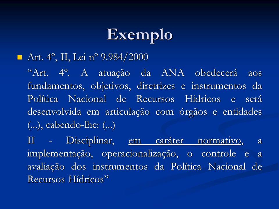 Exemplo Art. 4º, II, Lei nº 9.984/2000 Art. 4º, II, Lei nº 9.984/2000 Art. 4º. A atuação da ANA obedecerá aos fundamentos, objetivos, diretrizes e ins