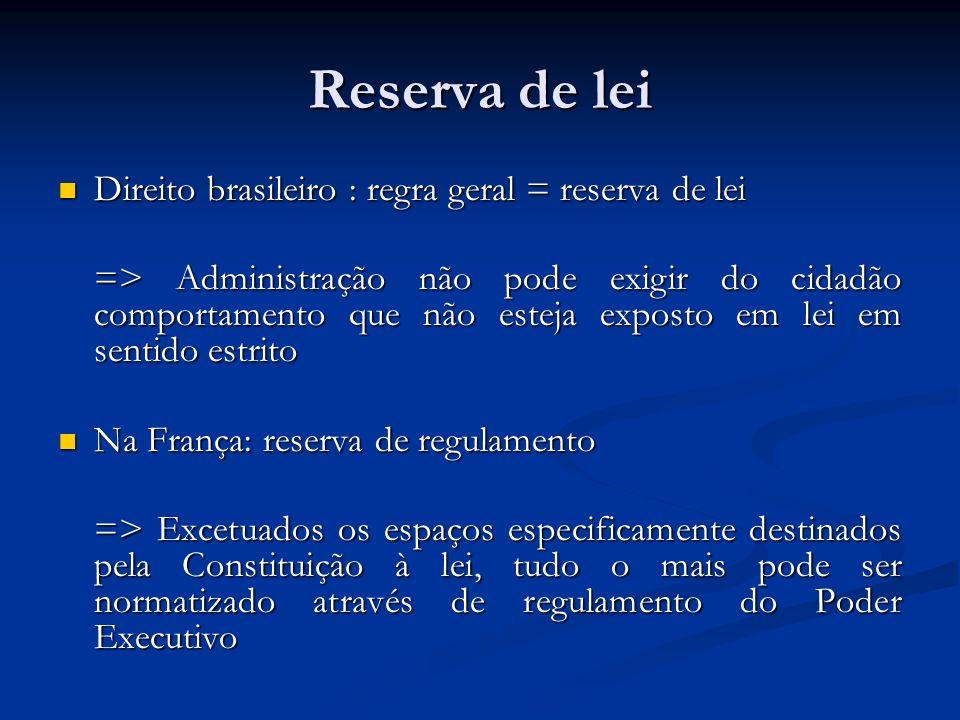 Reserva de lei Direito brasileiro : regra geral = reserva de lei Direito brasileiro : regra geral = reserva de lei => Administração não pode exigir do