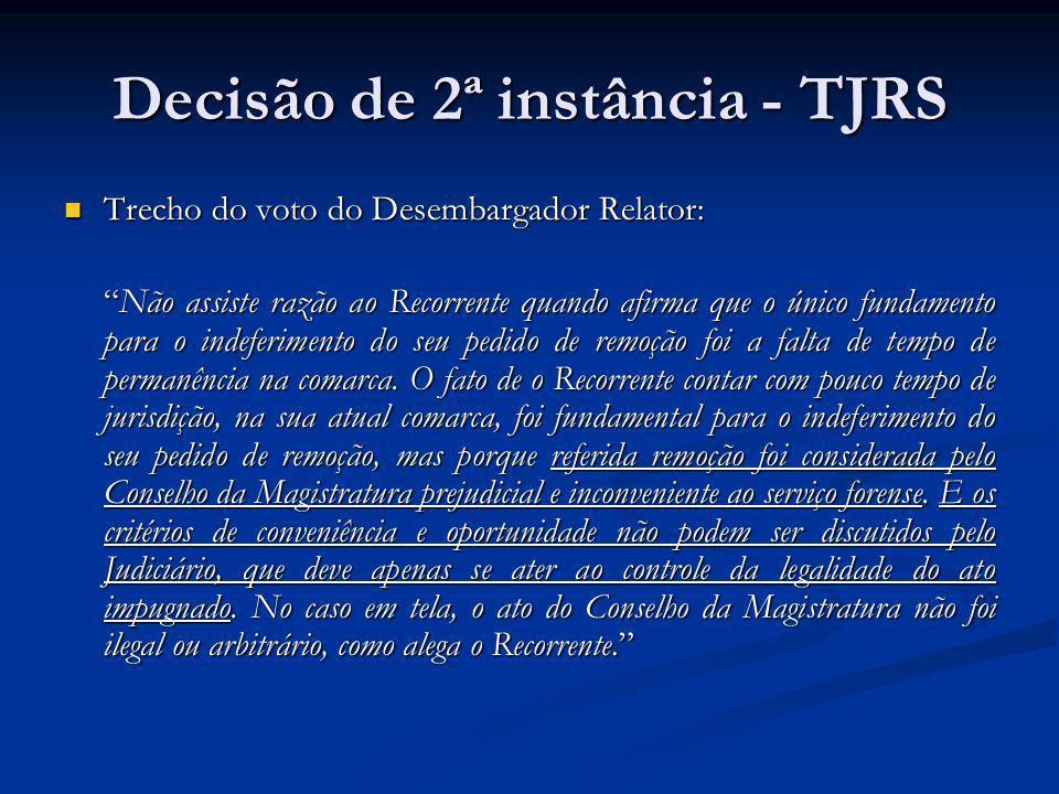 Decisão de 2ª instância - TJRS Trecho do voto do Desembargador Relator: Trecho do voto do Desembargador Relator: Não assiste razão ao Recorrente quand