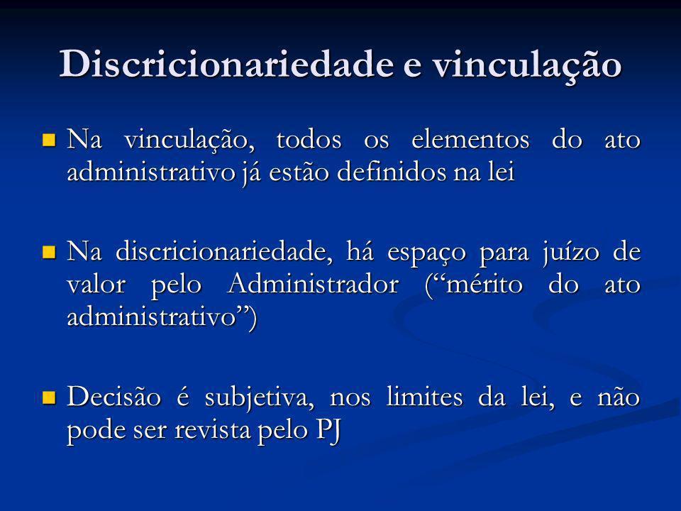 Discricionariedade e vinculação Na vinculação, todos os elementos do ato administrativo já estão definidos na lei Na vinculação, todos os elementos do