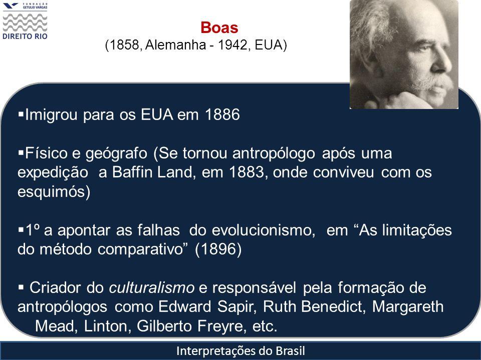 Interpretações do Brasil Imigrou para os EUA em 1886 Físico e geógrafo (Se tornou antropólogo após uma expedição a Baffin Land, em 1883, onde conviveu