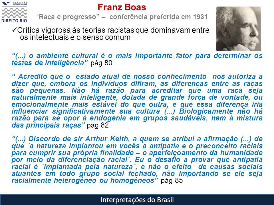 Interpretações do Brasil Franz Boas Raça e progresso – conferência proferida em 1931 Crítica vigorosa às teorias racistas que dominavam entre os intel