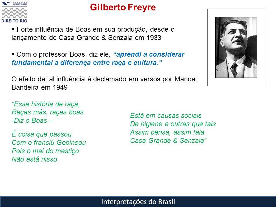 Interpretações do Brasil Gilberto Freyre Forte influência de Boas em sua produção, desde o lançamento de Casa Grande & Senzala em 1933 Com o professor