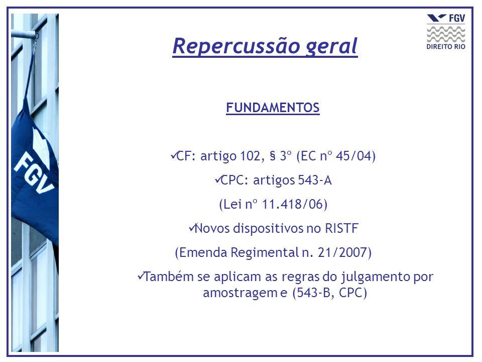FUNDAMENTOS CF: artigo 102, § 3º (EC nº 45/04) CPC: artigos 543-A (Lei nº 11.418/06) Novos dispositivos no RISTF (Emenda Regimental n. 21/2007) Também