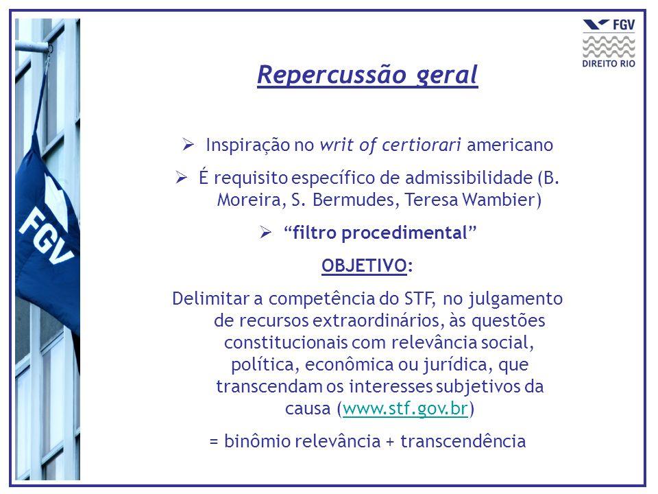 Repercussão geral Inspiração no writ of certiorari americano É requisito específico de admissibilidade (B. Moreira, S. Bermudes, Teresa Wambier) filtr