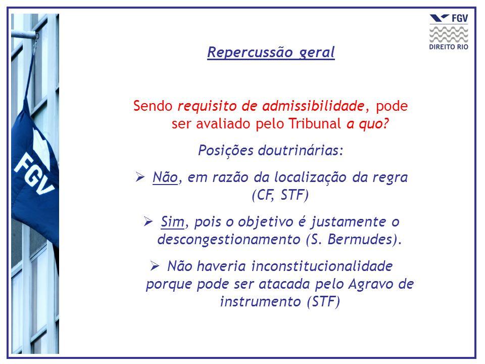 Repercussão geral Sendo requisito de admissibilidade, pode ser avaliado pelo Tribunal a quo? Posições doutrinárias: Não, em razão da localização da re