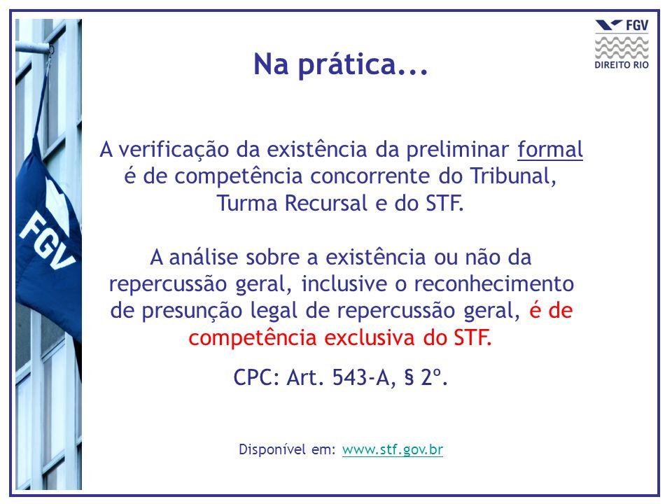 Na prática... A verificação da existência da preliminar formal é de competência concorrente do Tribunal, Turma Recursal e do STF. A análise sobre a ex