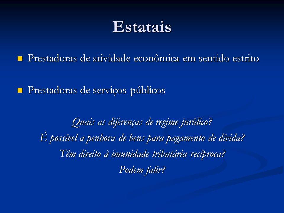 Estatais Prestadoras de atividade econômica em sentido estrito Prestadoras de atividade econômica em sentido estrito Prestadoras de serviços públicos