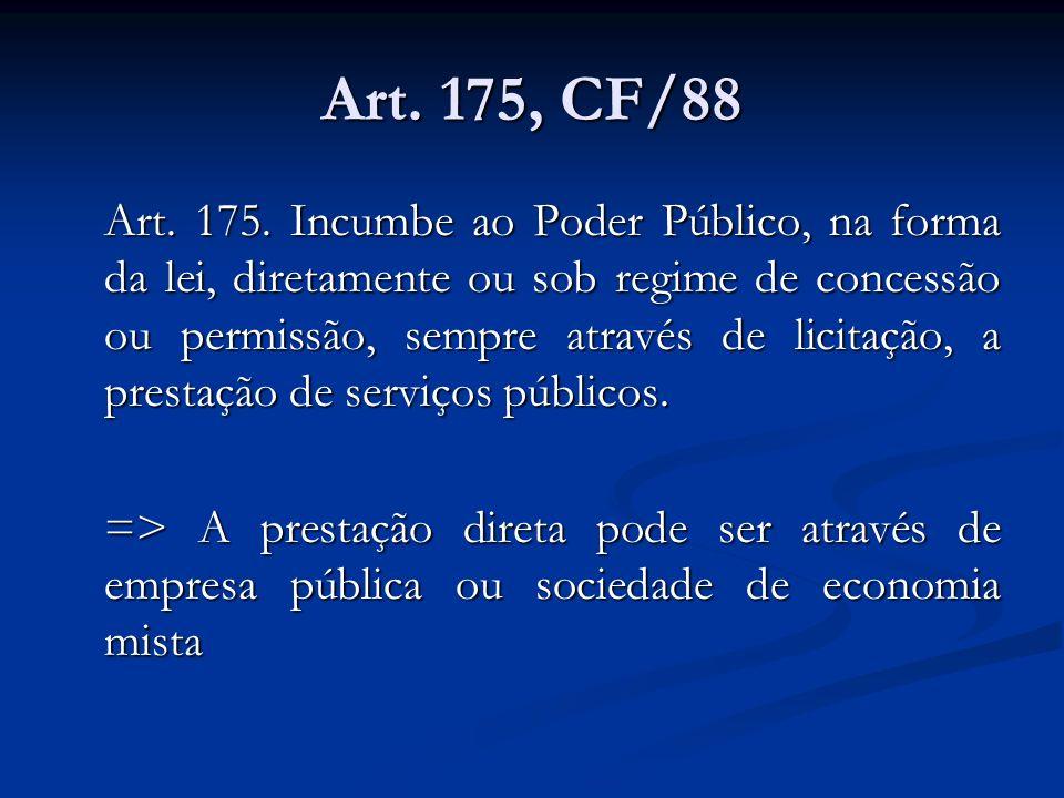Art. 175, CF/88 Art. 175. Incumbe ao Poder Público, na forma da lei, diretamente ou sob regime de concessão ou permissão, sempre através de licitação,