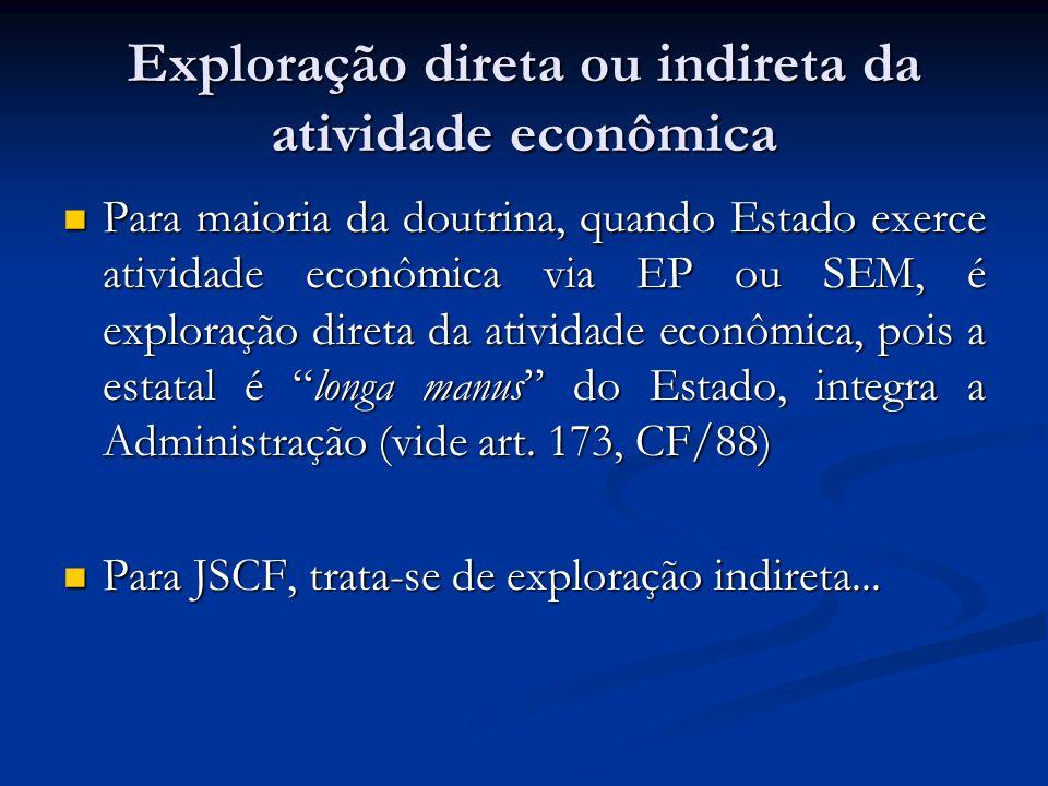 Exploração direta ou indireta da atividade econômica Para maioria da doutrina, quando Estado exerce atividade econômica via EP ou SEM, é exploração di