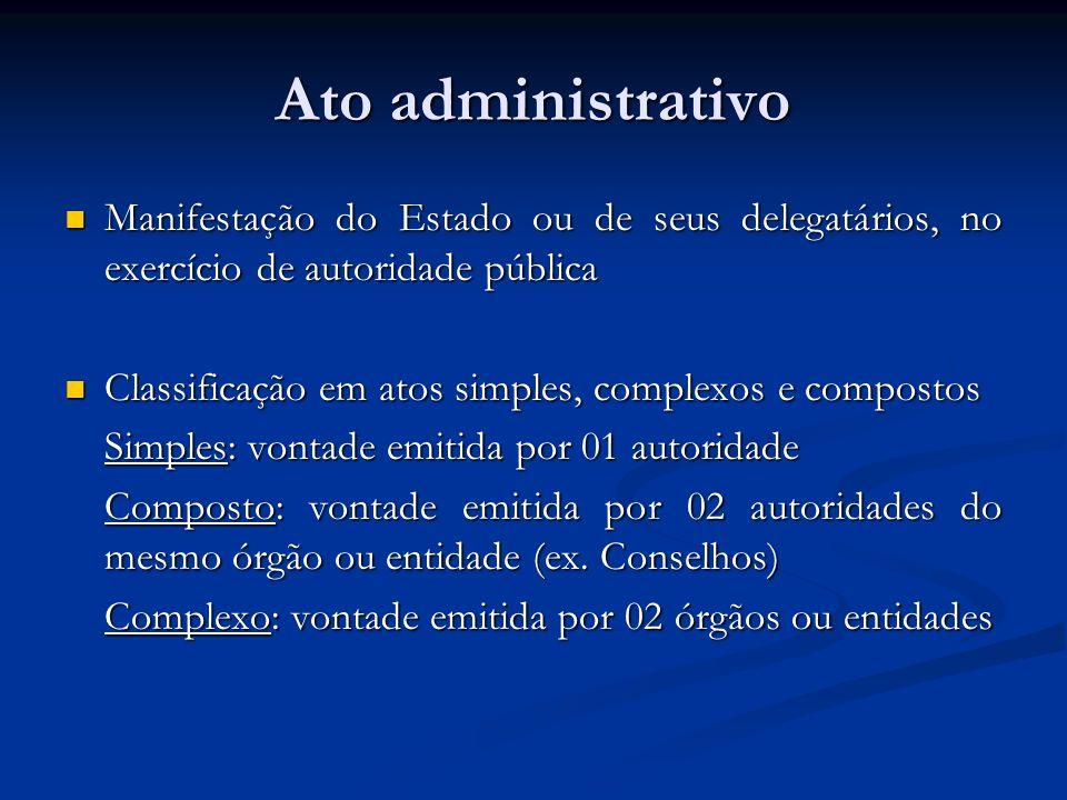 Ato administrativo Manifestação do Estado ou de seus delegatários, no exercício de autoridade pública Manifestação do Estado ou de seus delegatários,