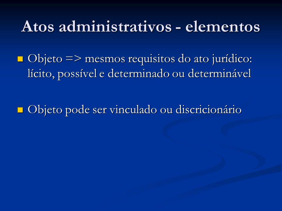 Atos administrativos - elementos Forma: princípio da solenidade Forma: princípio da solenidade Motivo: pode ser vinculado (à lei) ou discricionário Motivo: pode ser vinculado (à lei) ou discricionário