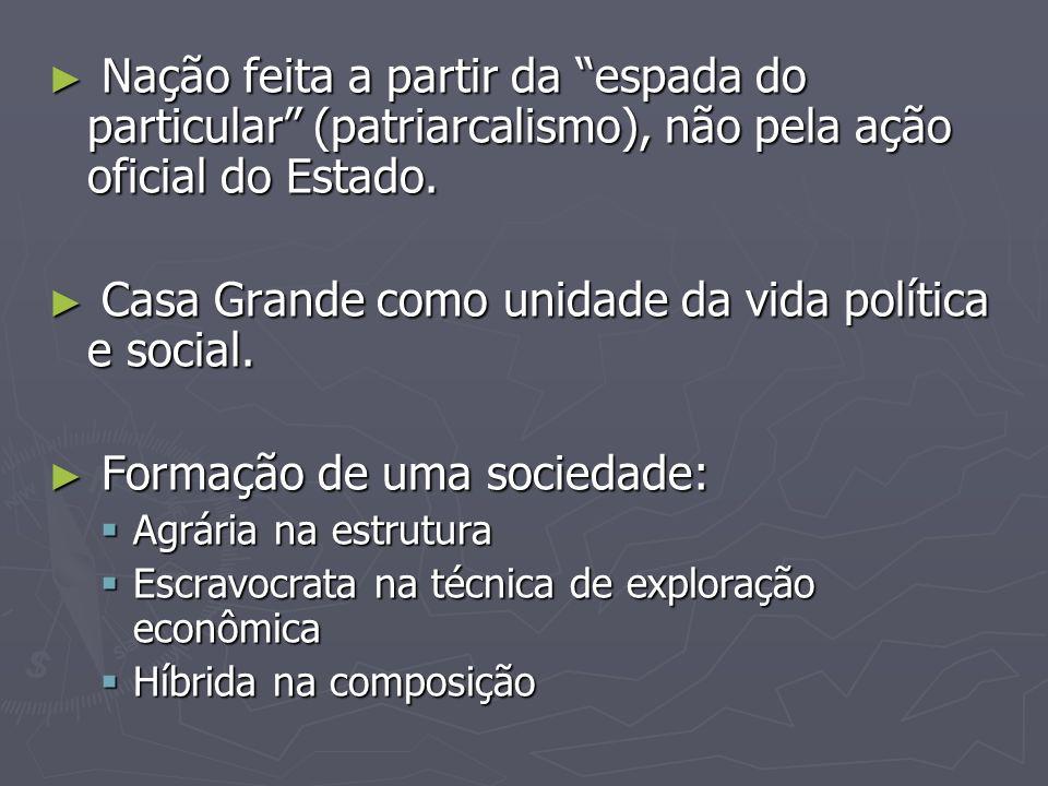 A Família A família, não o indivíduo, nem tampouco o Estado nem nenhuma companhia de comércio, é desde o século XVI o grande fator colonizador no Brasil, a unidade produtiva, o capital que desbrava o solo, instala as fazendas (...) Sobre ela o rei de Portugal quase reina sem governar A família, não o indivíduo, nem tampouco o Estado nem nenhuma companhia de comércio, é desde o século XVI o grande fator colonizador no Brasil, a unidade produtiva, o capital que desbrava o solo, instala as fazendas (...) Sobre ela o rei de Portugal quase reina sem governar Oligarquia, personalismo.