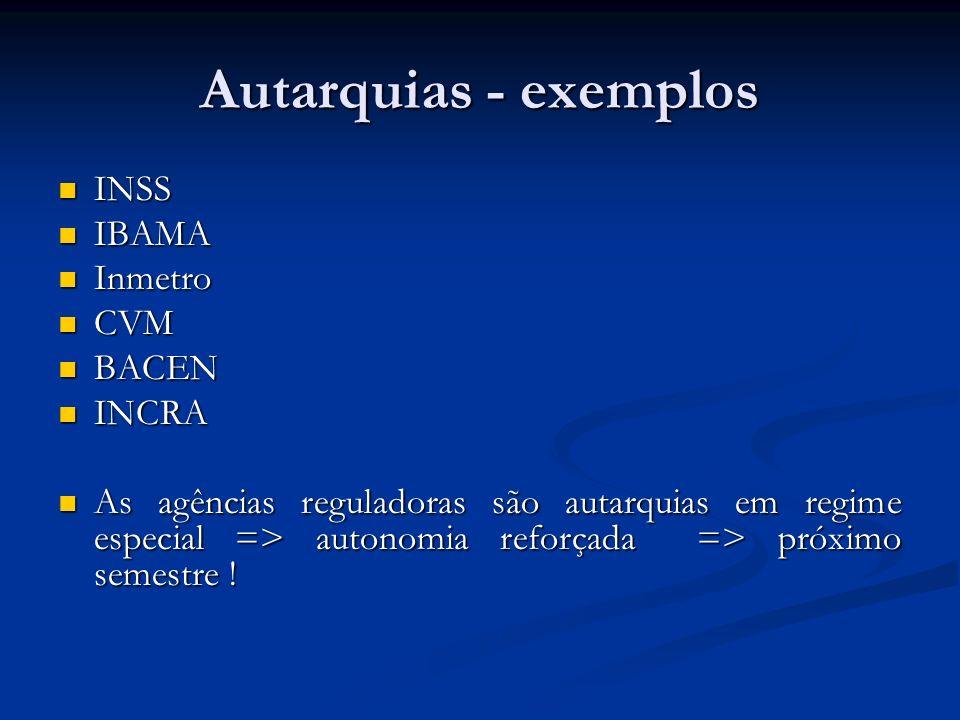 Autarquias - exemplos INSS INSS IBAMA IBAMA Inmetro Inmetro CVM CVM BACEN BACEN INCRA INCRA As agências reguladoras são autarquias em regime especial
