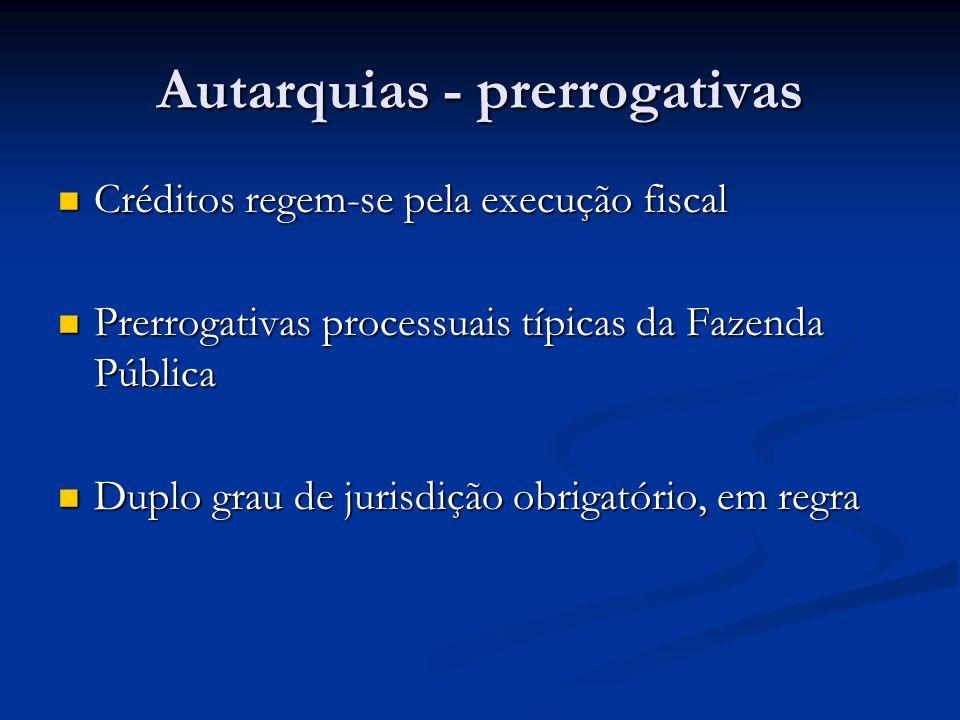 Autarquias - prerrogativas Créditos regem-se pela execução fiscal Créditos regem-se pela execução fiscal Prerrogativas processuais típicas da Fazenda