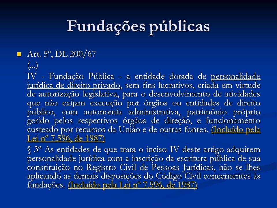 Fundações públicas Art. 5º, DL 200/67 Art. 5º, DL 200/67(...) IV - Fundação Pública - a entidade dotada de personalidade jurídica de direito privado,