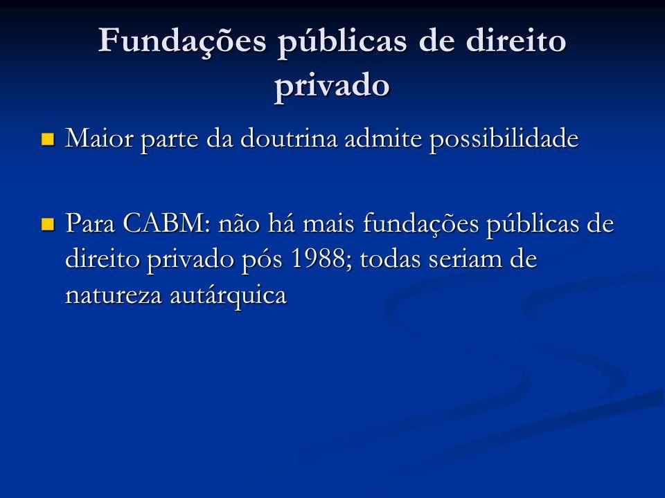 Fundações públicas de direito privado Maior parte da doutrina admite possibilidade Maior parte da doutrina admite possibilidade Para CABM: não há mais