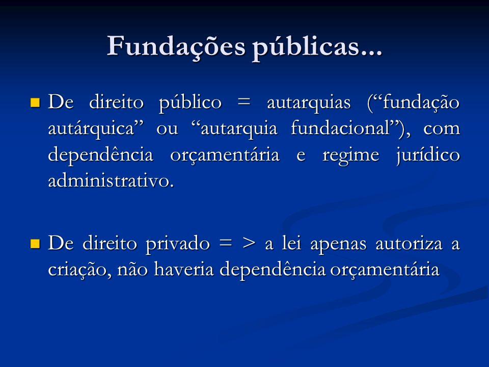 Fundações públicas... De direito público = autarquias (fundação autárquica ou autarquia fundacional), com dependência orçamentária e regime jurídico a