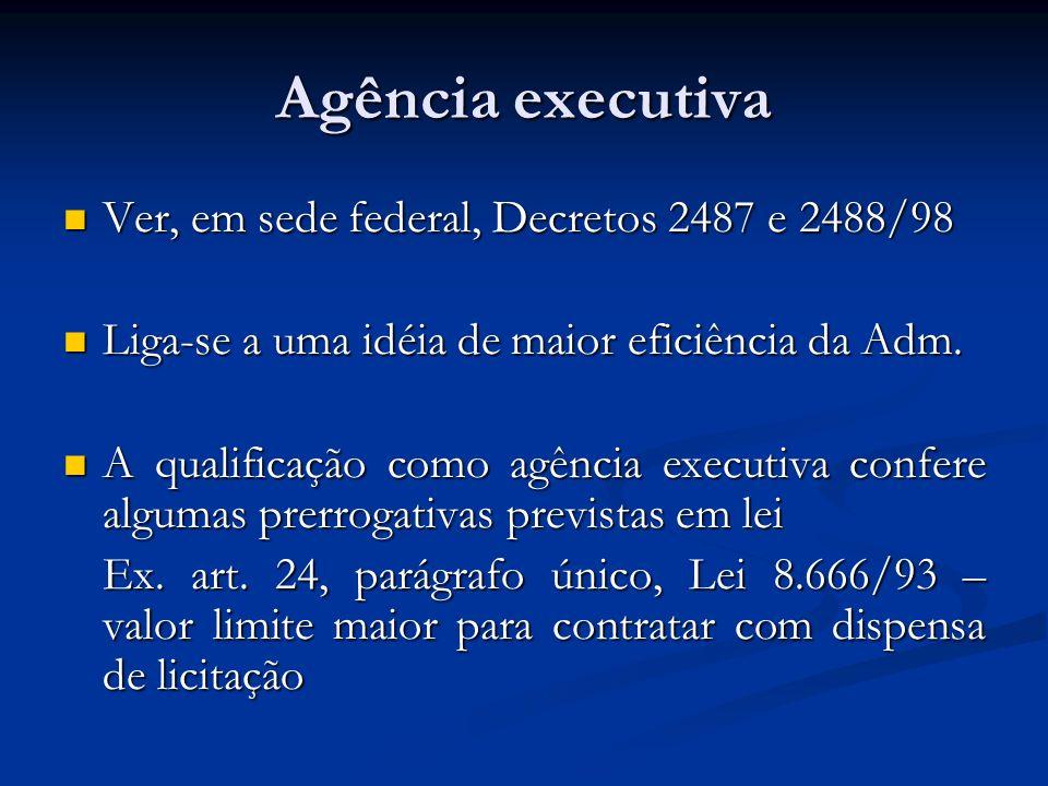 Agência executiva Ver, em sede federal, Decretos 2487 e 2488/98 Ver, em sede federal, Decretos 2487 e 2488/98 Liga-se a uma idéia de maior eficiência