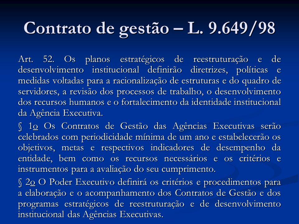 Contrato de gestão – L. 9.649/98 Art. 52. Os planos estratégicos de reestruturação e de desenvolvimento institucional definirão diretrizes, políticas
