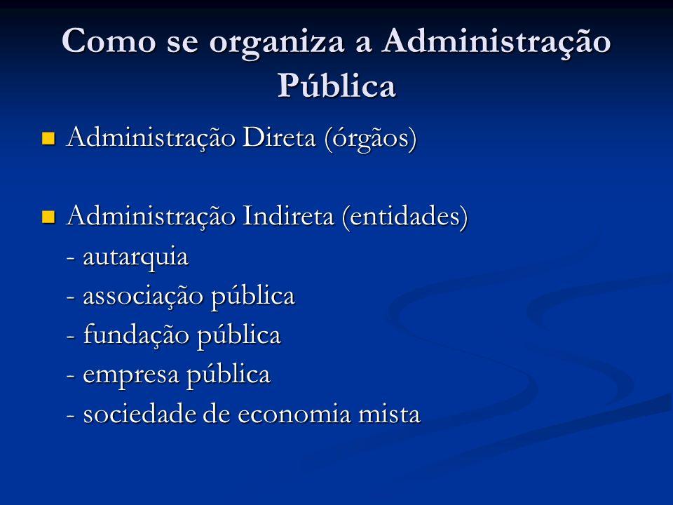 Como se organiza a Administração Pública Administração Direta (órgãos) Administração Direta (órgãos) Administração Indireta (entidades) Administração