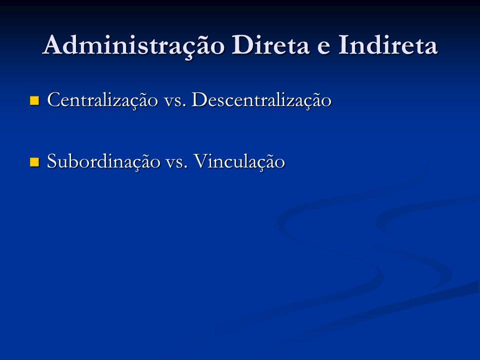 Administração Direta e Indireta Centralização vs. Descentralização Centralização vs. Descentralização Subordinação vs. Vinculação Subordinação vs. Vin