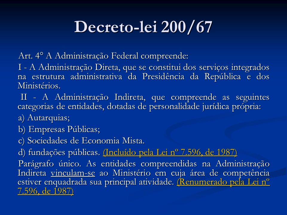 Decreto-lei 200/67 Art. 4° A Administração Federal compreende: I - A Administração Direta, que se constitui dos serviços integrados na estrutura admin