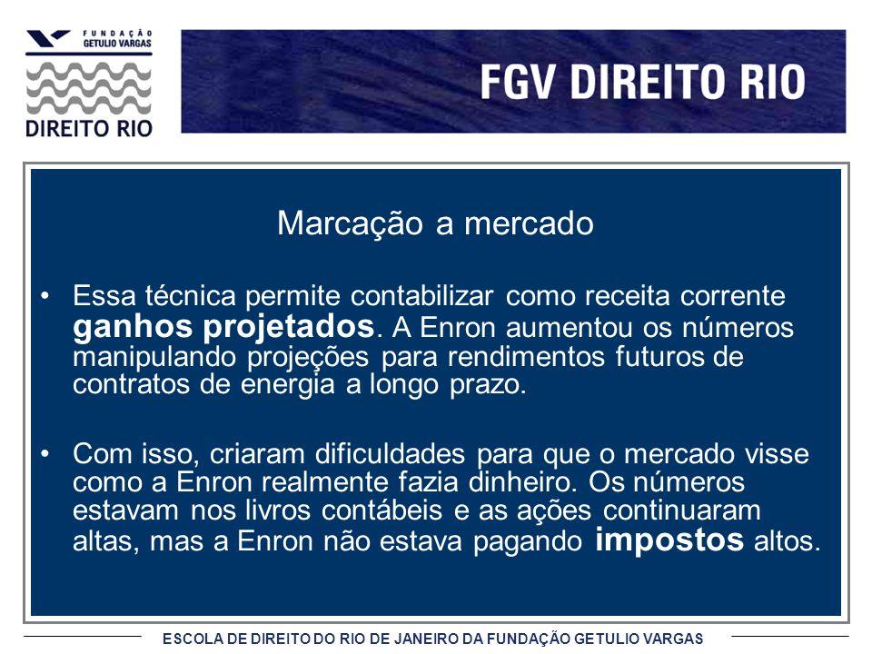 ESCOLA DE DIREITO DO RIO DE JANEIRO DA FUNDAÇÃO GETULIO VARGAS Marcação a mercado Essa técnica permite contabilizar como receita corrente ganhos projetados.
