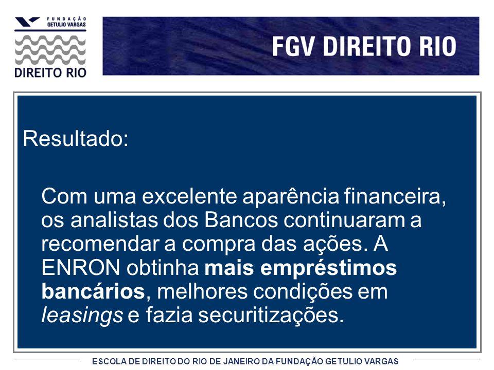 ESCOLA DE DIREITO DO RIO DE JANEIRO DA FUNDAÇÃO GETULIO VARGAS Resultado: Com uma excelente aparência financeira, os analistas dos Bancos continuaram
