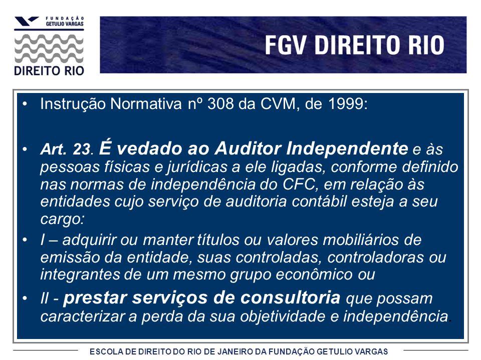 ESCOLA DE DIREITO DO RIO DE JANEIRO DA FUNDAÇÃO GETULIO VARGAS Instrução Normativa nº 308 da CVM, de 1999: Art. 23. É vedado ao Auditor Independente e