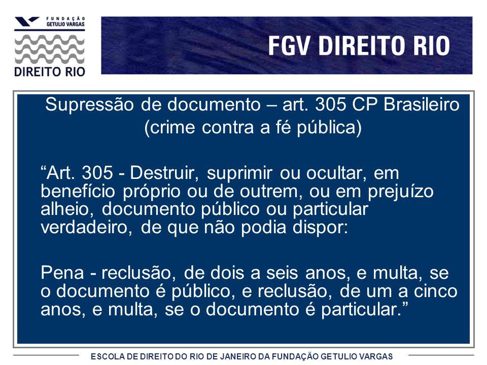 ESCOLA DE DIREITO DO RIO DE JANEIRO DA FUNDAÇÃO GETULIO VARGAS Supressão de documento – art. 305 CP Brasileiro (crime contra a fé pública) Art. 305 -