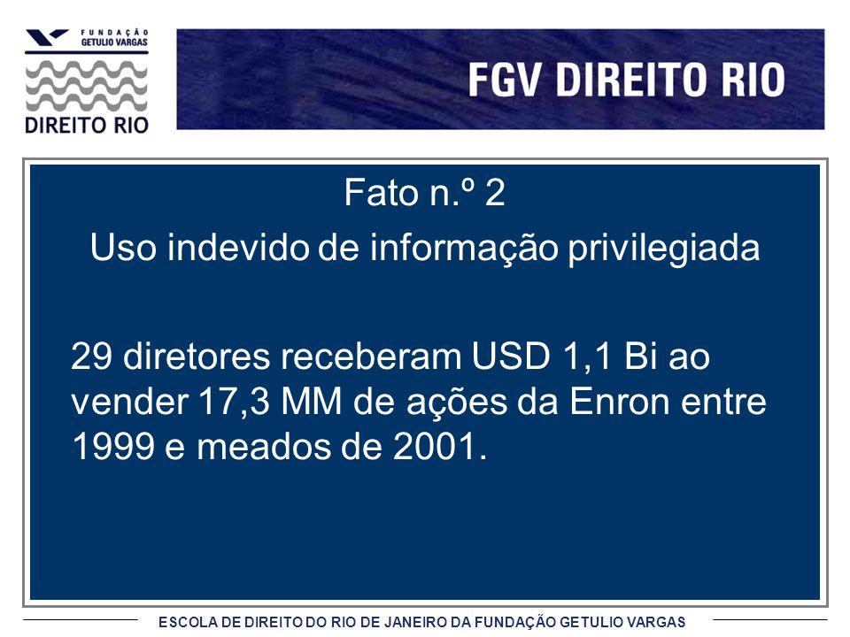 ESCOLA DE DIREITO DO RIO DE JANEIRO DA FUNDAÇÃO GETULIO VARGAS Fato n.º 2 Uso indevido de informação privilegiada 29 diretores receberam USD 1,1 Bi ao vender 17,3 MM de ações da Enron entre 1999 e meados de 2001.