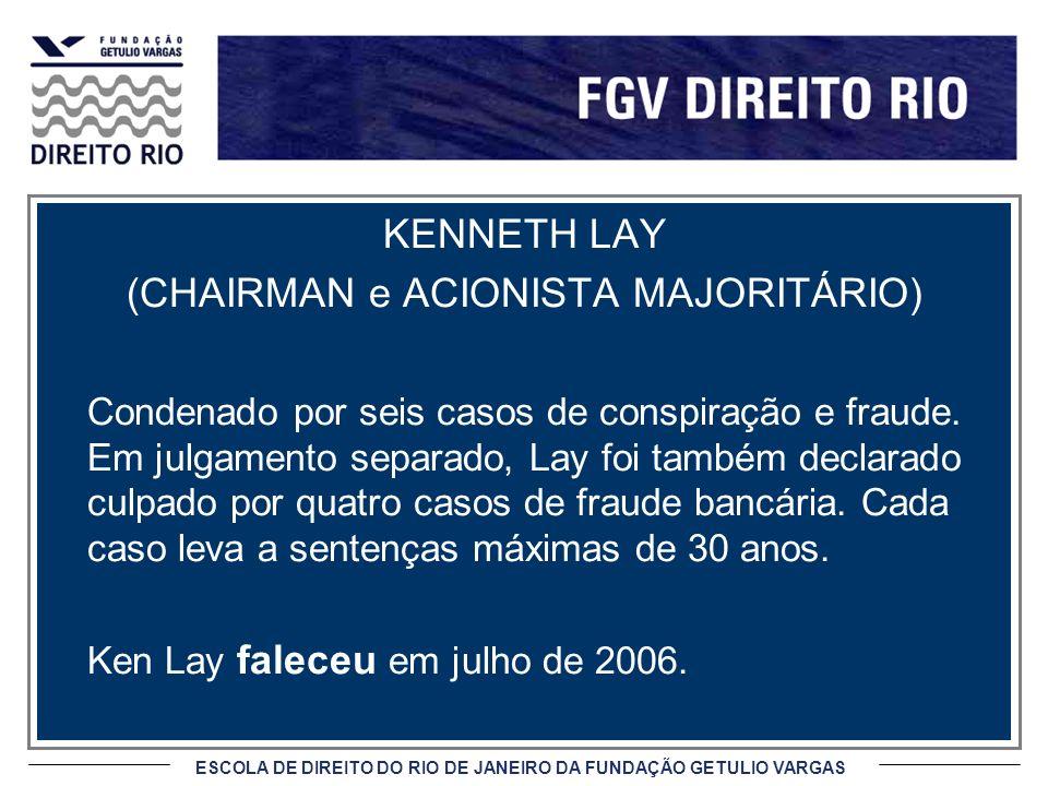 ESCOLA DE DIREITO DO RIO DE JANEIRO DA FUNDAÇÃO GETULIO VARGAS KENNETH LAY (CHAIRMAN e ACIONISTA MAJORITÁRIO) Condenado por seis casos de conspiração e fraude.