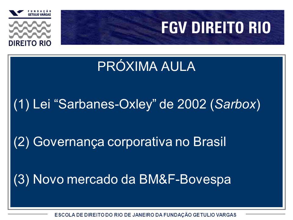 ESCOLA DE DIREITO DO RIO DE JANEIRO DA FUNDAÇÃO GETULIO VARGAS PRÓXIMA AULA (1)Lei Sarbanes-Oxley de 2002 (Sarbox) (2)Governança corporativa no Brasil (3)Novo mercado da BM&F-Bovespa