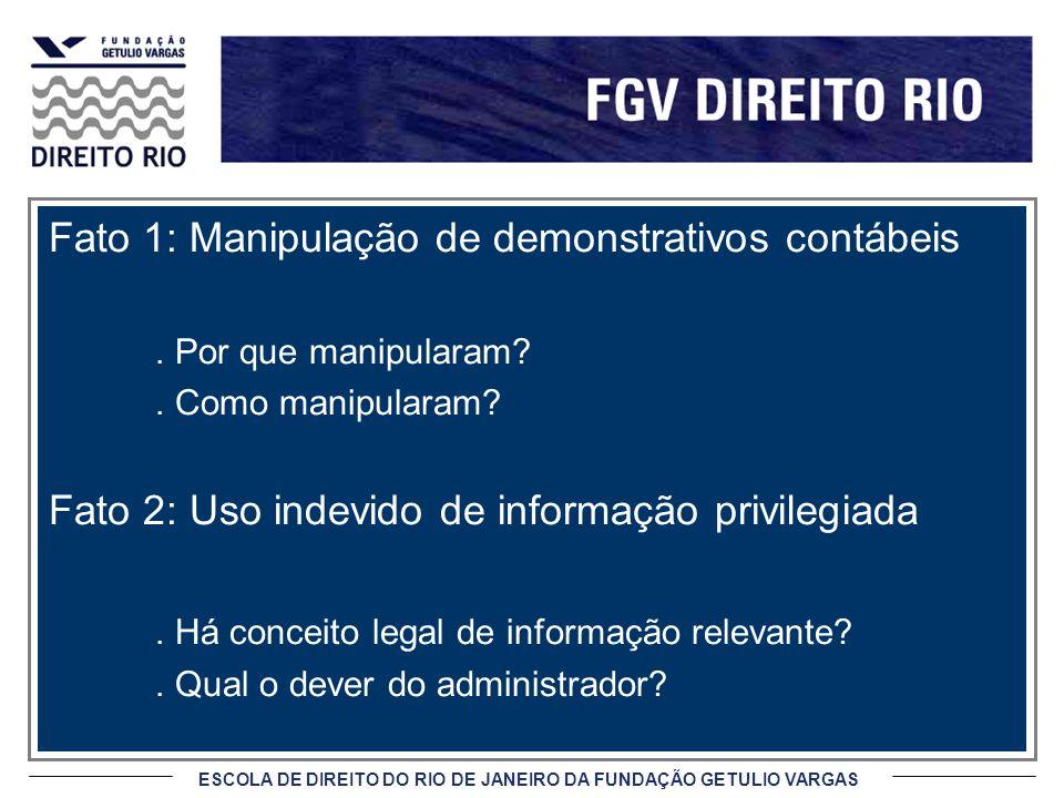 ESCOLA DE DIREITO DO RIO DE JANEIRO DA FUNDAÇÃO GETULIO VARGAS Fato 1: Manipulação de demonstrativos contábeis. Por que manipularam?. Como manipularam