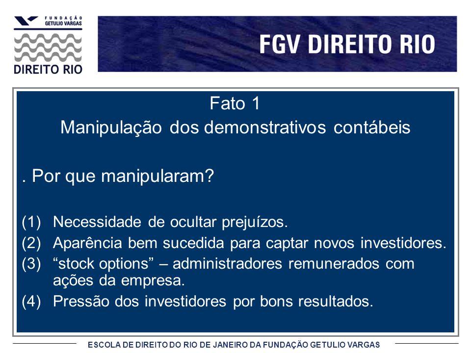 ESCOLA DE DIREITO DO RIO DE JANEIRO DA FUNDAÇÃO GETULIO VARGAS Fato 1 Manipulação dos demonstrativos contábeis. Por que manipularam? (1)Necessidade de
