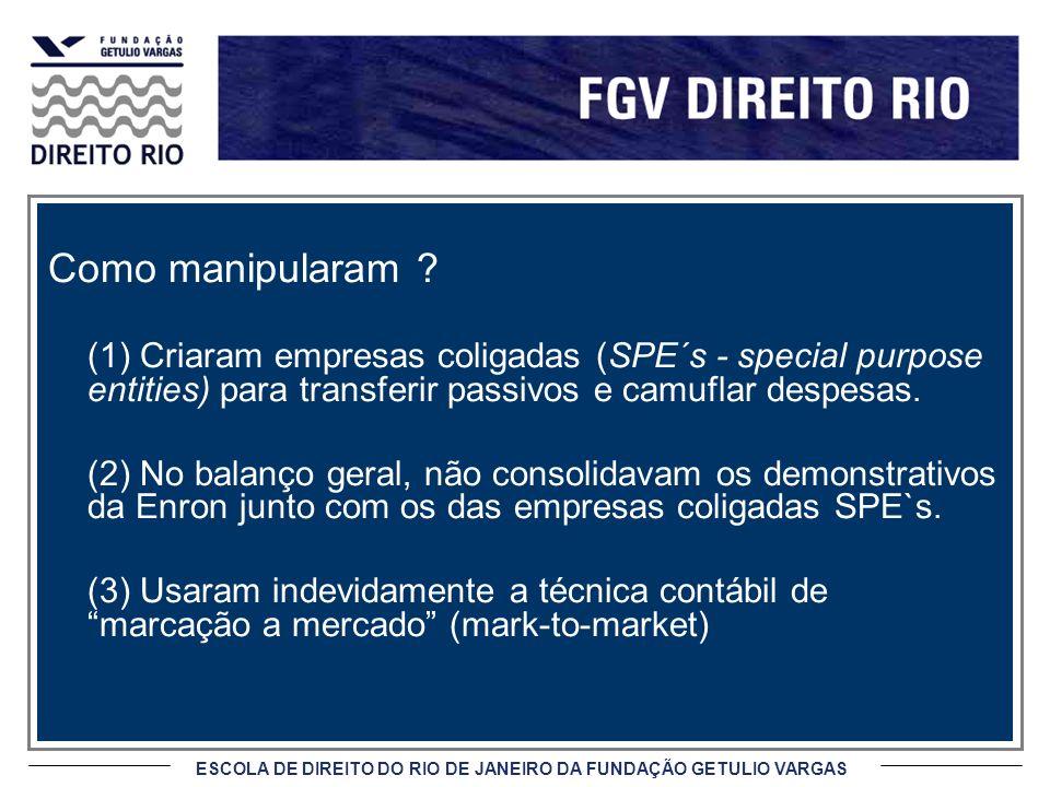 ESCOLA DE DIREITO DO RIO DE JANEIRO DA FUNDAÇÃO GETULIO VARGAS Como manipularam ? (1) Criaram empresas coligadas (SPE´s - special purpose entities) pa