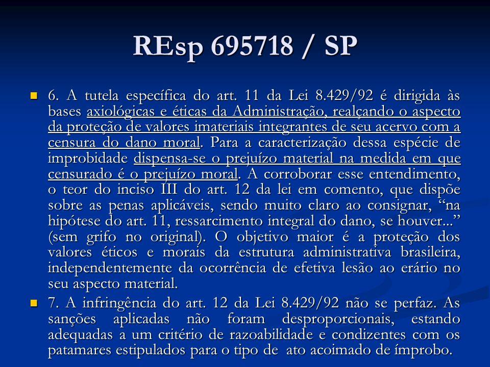 REsp 695718 / SP 6. A tutela específica do art. 11 da Lei 8.429/92 é dirigida às bases axiológicas e éticas da Administração, realçando o aspecto da p