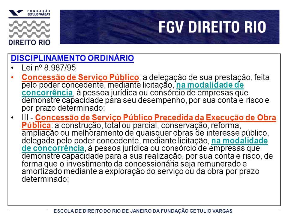 ESCOLA DE DIREITO DO RIO DE JANEIRO DA FUNDAÇÃO GETULIO VARGAS DISCIPLINAMENTO ORDINÁRIO Lei nº 8.987/95 Concessão de Serviço Público: a delegação de
